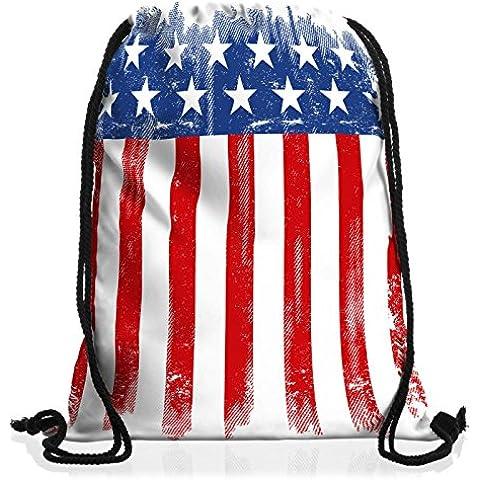 style3 USA Pabellón Nacional Bolsa mochila bolsos unisex gymsac bandera estados unidos us stars stripes