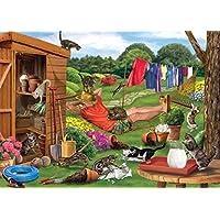 Otter House 1000 Piece Landscape Jigsaw Puzzle- Garden Cats