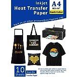 Papel de transferencia de calor para tela oscura Plancha de inyección de tinta en transferencias para camisetas Vinilo de transferencia de calor imprimible 8.5x11'Paquete de 10 hojas