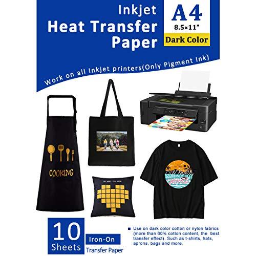 Transferpapier Transferfolie Bügelfolie für Dunkle Textilien Tintenstrahldrucker für T-Shirts Bedruckbares Wärmeübertragungsvinyl 8,5 x 11 Zoll Packung mit 10 Blättern -