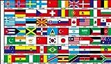1,5 m x 0,9 m (150 x 90 cm) 70 Nazioni Mondo Paesi 100% Materiale Poliestere Bandiera Della Ideale Per Club Business School Decorazione Del Partito Eurovisione Olimpiadi Coppa Del Mondo Giochi Del Commonwealth