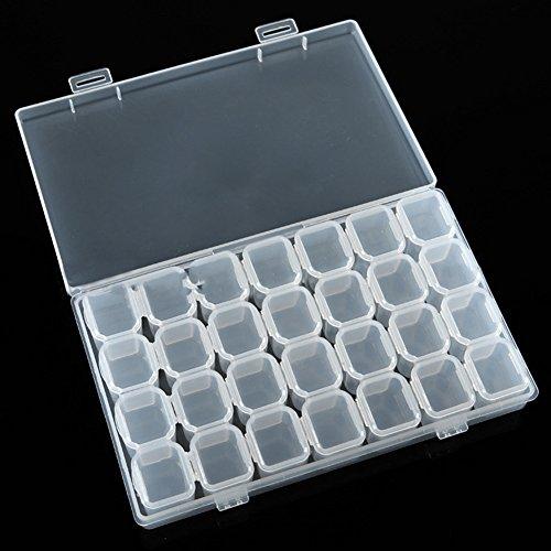 Bodhi2000 amovible en plastique Transparent 28 emplacements Boîte de rangement organisateur Nail Art strass bijoux diamants Boucles d'oreilles perles Vitrine