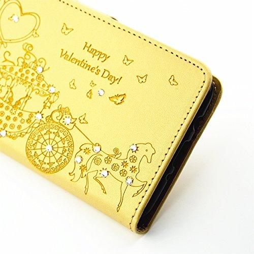 Ecoway Case / Cover / Téléphone / Housse pour Apple iPhone 5C Belles jolis motifs Bling Crystal Glitter Strass gaufrage design Folio PU Housse en cuir avec support dans BookStyle poches de carte de cr d'or