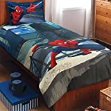 Spaces Marvel Spiderman 180 TC Cotton Single Bedsheet With Pillow Cover - Character, Blue