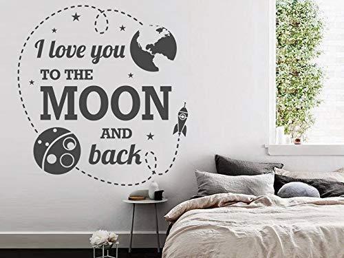 Tiukiu Wandaufkleber für Kinderzimmer, Motiv: I Love You to The Moon and Back Mond, Vinyl, abnehmbar, Vinyl, Multi, 12 Inch In Width -