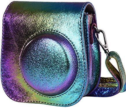 SAIKA Tasche Hülle für Fujifilm Instax Mini 9/8/8 + Sofortbildkamera, Vintage Compact Schutztasche mit Schultergurt & Tasche - Psychedelisch - Psychedelische Mini