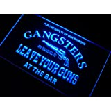 Cartel Luminoso ADV PRO m099-b Gangsters Leave Your Guns at Bar Neon Sign