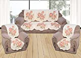 #8: Yellow Weaves 6 Piece Off-White Sofa & Chair Cover Set
