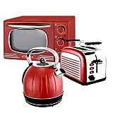 Kalorik Küchenset JK 2500, TO 2500 + OT 2500 Wasserkocher 1,7 Liter, 2-Scheiben Toaster, Ofen 19,5 Liter, Retro Rot, Edelstahl