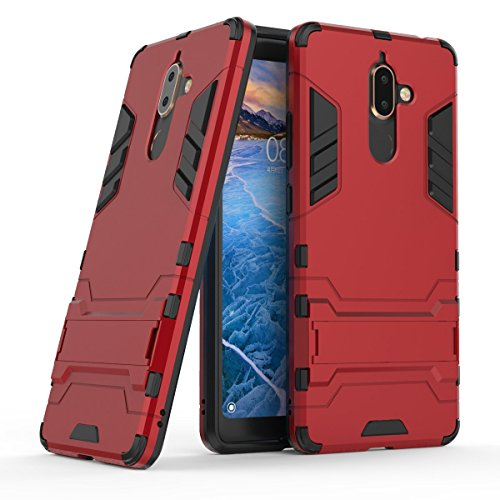 HDRUN Cover Nokia 7 Plus - 2 In 1 Dual Layer Ibrida Custodia in Plastica Rigida e TPU Morbido [Armatura e Sottile] Anti-Graffio Resistente Protettiva Bumper Case Cover per Nokia 7 Plus, rosso