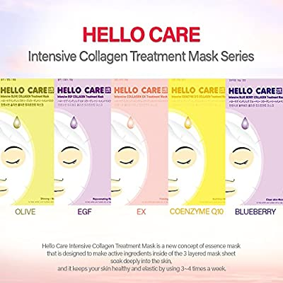 [HelloCare] Intensive COLLAGEN Treatment Facial Mask Sheets Pack x 5 sheets Daily Skincare Anti-aging Moisturizing Rejuvenating Face Masks Pack [S. Korea] from FT Cosmetic