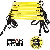 Escalera Premium de 4 metros y 8 peldaños de Peak Fitness para Agilidad y Velocidad, Entrenamiento de Velocidad, Entrenamiento de Fitness...