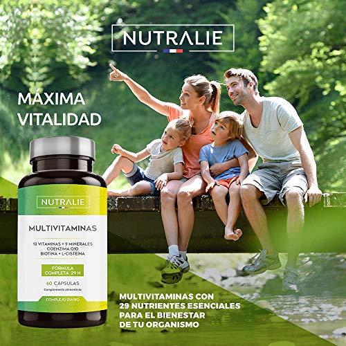 513 7d4Dr L - Multivitaminas 29 Nutrientes Esenciales | Vitaminas A, B, C, D, E, K, Biotina, L-cisteína, Coenzima Q10 y 9 Minerales | Complejo Multivitamínico 60 Cápsulas | Nutralie