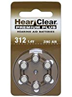 HearClear Size 312 Hearing Aid Batteries 60 batteries