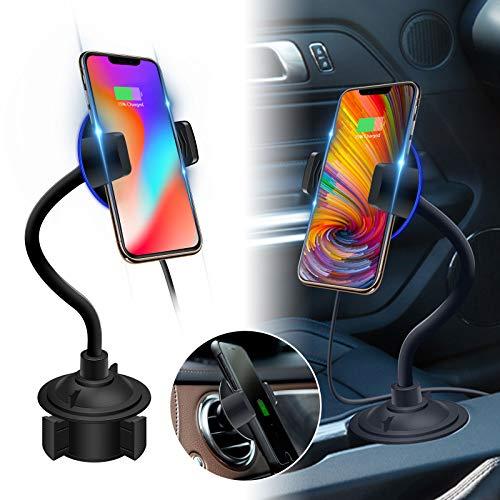 EEEKit Wireless Car Charger Mount, Getränkehalterhalterung für das Handy, Schnelllade-Entlüfterhalterung für das iPhone XS Max/XR/X / 8/8 Plus, Samsung Galaxy S10 / S9 / S8 / Note 9