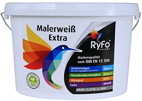 RyFo Colors Malerweiß Extra 12,5l (Größe wählbar) - Wandfarbe altweiß, hohe Deckkraft, Premium-Innen-Farbe, airless verarbeitbar, Deckkraft Klasse 1