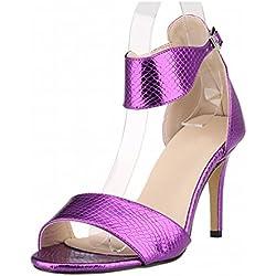 Zhuhaixmy New Frau Damen High Heels Peep Toe Gürtel Schnalle Krokodil Muster Sandalen Schuhe