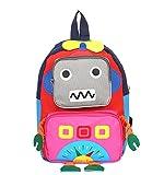 Huateng Kleiner Kleinkind-Kinderrucksack, Nette Roboter-Baby-Schultasche Oxford-Stoff-Schüler-Schultaschen für 1-3 Jahre alt