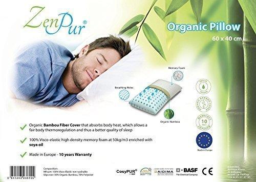 ZenPur Kissen Premium Orthopädische & Ergonomisch mit Hülle aus -faser Bambus Bio Anti-Milbe Hypoallergen und Garnitur aus Schaum Zervikale -speichernd Form- Wartung des Hals 100% Visko-elastisch