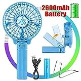 Vidence Mini Ventilatore Portatile, Mini Ventilatore USB Ricaricabile Ventola a Batteria 2600mAh, Ventilatore da Tavolo a 3 Velocità Manico Pieghevole per la Casa Ufficio/Esterno/Campeggio, Blu