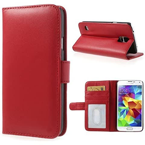 delightable24 Cover Protettiva Bookstyle Flip Case per SAMSUNG GALAXY S5 / S5 NEO Smartphone - Rosso