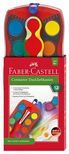 Faber-Castell 125030 - Farbkasten CONNECTOR mit 12 Farben, inklusive Deckweiß
