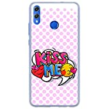 BJJ SHOP Transparent Hülle für [ Huawei Honor 8X Honor View 10 Lite ], Klar Flexible Silikonhülle, Design: Emoticons mit pink Hintergrund, kiss me