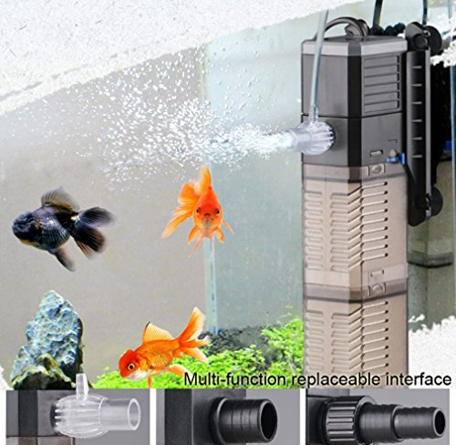 Fish Tank Filter 3-in-1 Aquarium Submersible Pump Water Pump for Fish Tank 8W 20W 25W (CHJ-602/20W)