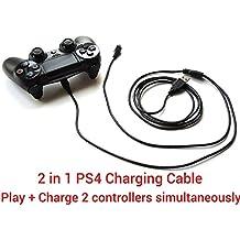 2 en 1 Cable de Carga y Juego para mandos de PS4, 3 Metros, Negro