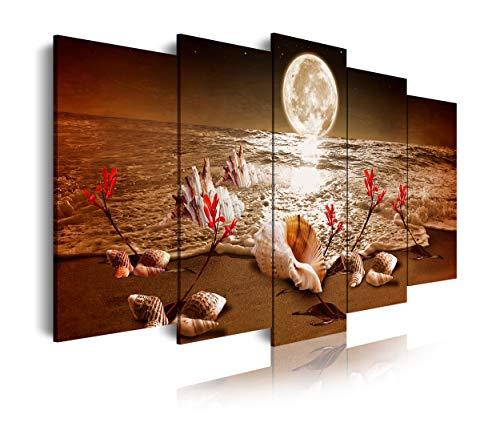 Dekoarte 440 - Cuadro moderno en lienzo 5 piezas XXL, luna en la playa, 200x3x100cm