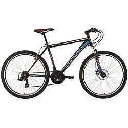 "KS Cycling Mountainbike Hardtail Castello CMW - Bicicleta de montaña enduro, color negro / azul, ruedas 26"", cuadro 48 cm"