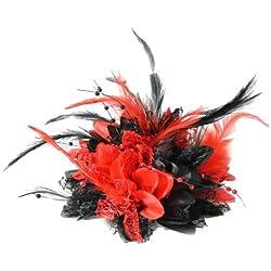 Tocado de color rojo gótico y negro con plumas de corsé y pétalos de flores hechas a mano