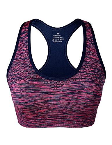 Match Damen Draht nahtlose doppellagige gepolsterte Racerback Sport-BH fuer Yoga Workout Gym #004 1 Paket von 3(B Orange-Gruen-Pflaume)