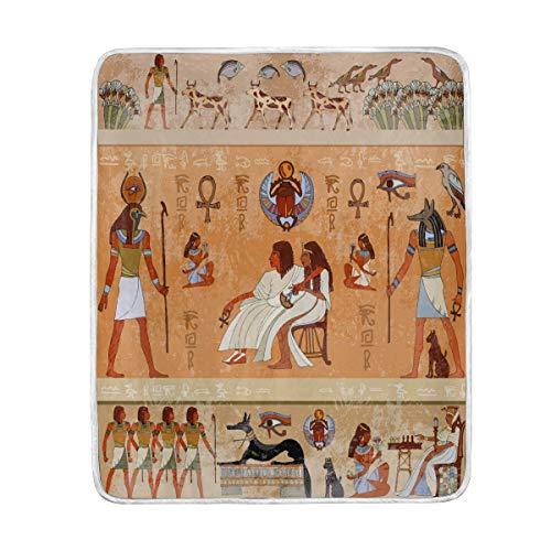 Gemütliche Plüsch (vinlin Ancient Egypt Velvet Plüsch Überwurf, gemütlich, warm, leicht, Decken für Wohnzimmer, Outdoor, Reisen, 127 x 152 cm)