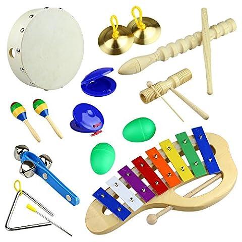 Tera 10 en 1 Kit d'instruments de musique en bois à percussion pédagogique le meilleur cadeau pour les enfants et bébés