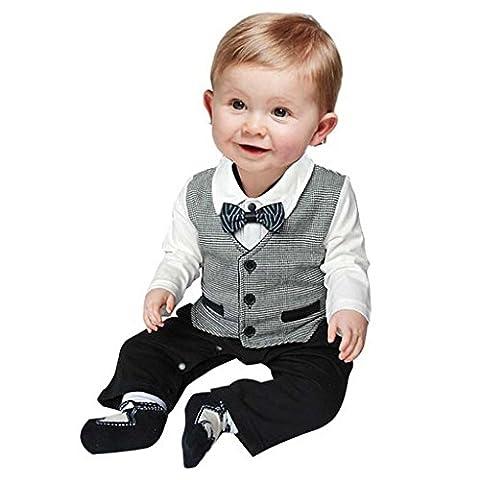 Eagsouni® nouveau-né bébé garçons Gentleman pour nœud papillon Grenouillère Combinaison Tenues Vêtements