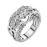 Coconano Anillo De Plata y Anillo De Compromiso Joyas Para Mujeres Blanco My Heart Will Go On Diana Diamond Wedding Ring