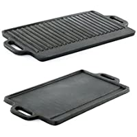 HomeZone® Heavy Duty Small Cast Iron Non Stick Griddle Pan (22cm x 15cm). Double Sided Reversible Skillet Pan
