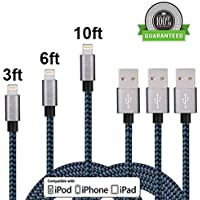 Cavo Lightning a USB 1M 2M 3M 3Pack Nylon Intrecciato Trasmissione Dati Carica per Apple iPhone SE, 6, 6Plus, 6S, 6S plus, 5, 5S, 5C, iPad Air, Mini, Mini 2, iPad 4, iPod 5 e iPod 7 (Nero e Blu) - Trasmissione Stand