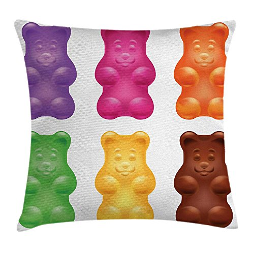 ya05263 Children Throw Pillow Cushion Cover, Colorful Jelly Gummy Bears Sweet Candy Food Blueberry Yummy Kids Nursery Design, Decorative Square Accent Pillow Case, 20 X 20 inches, Multicolor