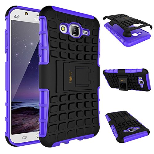 Heartly Flip Kick Stand Spider Hard Dual Rugged Armor Hybrid Bumper Back Case Cover For Samsung Galaxy J7 SM-J700F Dual Sim - Frame Purple