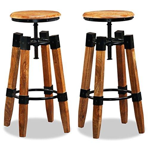 ROMELAREU Barhocker 2 STK. Mangoholz Massiv und Stahl Möbel Stühle Hocker & Barhocker -