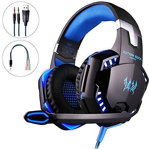 Mbylxk PS4 Gaming Headset Kopfhörer 3,5 mm mit Mikrofon für PS4, Xbox One, PC, teilweise auch Smartphones (Usb Kopfhörer Workout-w)