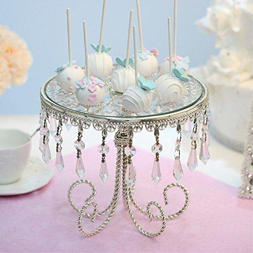 VUKUB European-Style Romantische Hochzeit Dessert Tisch Splitter Perlen Kristall Spiegel Top 12 Zoll Tortenständer Hochzeitstorte Stand Round Pedestal Silber Finish mit Kristallperlen