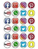 24Kuchendekorationen aus essbaren Sozialen-Medien-Motiven