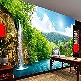 3D Wandbild Tapete Berg Wasserfall Turm Wandmalerei Fototapete Wohnzimmer Schlafzimmer Wandverkleidung, 260X180 Cm (102,36X70,87 In)