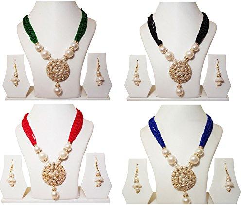 Jewellery Expert pearl women set | Green,Red,Black&Blue