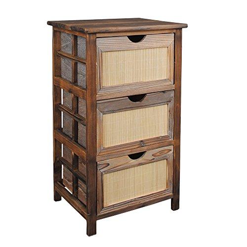 Landhaus Kommode Nachttisch Schrank Beistelltisch Flur Pinien Holz Roasted Look