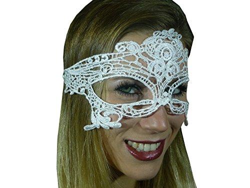 Vampir Kostüm Verkleiden Ohne - HO-Ersoka Damen Augenmaske Ballmaske Spitze Stickerei Maskenball Venezia weiß