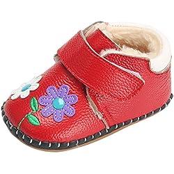 Happy Cherry Neonata Bambina e Bambino Invernali Scarpe Caldo Fodera Suola Antiscivolo - Rosso Lunghezza Interno 12cm